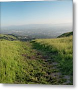 Walking Downhill Large Trail With Silicon Valley At The End Metal Print