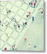 Walking People Metal Print