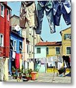Washday  In  Burano Metal Print