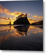 Washington Coast Weeping Lady Sunset Cloudscape Metal Print