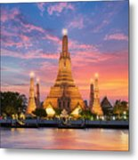 Wat Arun Night View Temple In Bangkok Metal Print