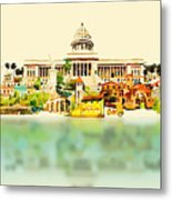 Water Color Vector Panoramic Cuba Metal Print