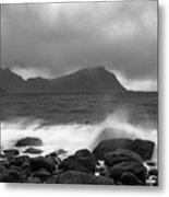 Water Hits The Coastline During Storm Metal Print