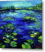 Water Lilies Story Impressionistic Impasto Palette Knife Oil Painting Mona Edulesco Metal Print