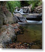 Water Stream On The River With Small Waterfalls Metal Print