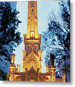 Water Tower At Night In Chicago Metal Print