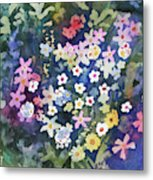 Watercolor - Alpine Wildflower Design Metal Print