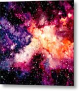 Watercolor Background With Outer Space Metal Print