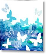 Watercolor Blue Background With Metal Print