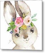 Watercolor Boho Bunny Rabbit Art Print Metal Print