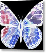 Watercolor Butterfly On Black V Metal Print