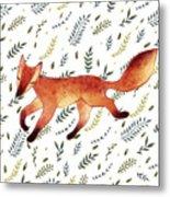 Watercolor Cute Running Fox With Green Metal Print