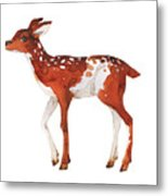 Watercolor Dotted Fawn Painting. Hand Metal Print