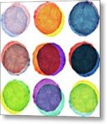 Watercolor Painted Circles Various Metal Print