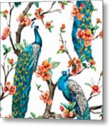 Watercolor Pattern Peacock On A Tree Metal Print