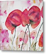 Watercolor - Poppy Portrait Metal Print