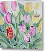 Watercolor - Spring Tulips Metal Print