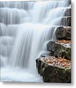 Waterfall Flowing Over Rock Stair Metal Print