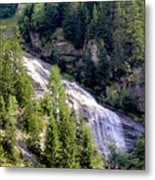Waterfall In The Mountains. Metal Print