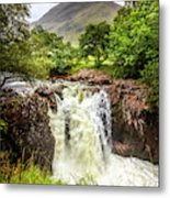 Waterfall Under The Mountain Metal Print