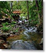 Waterfall With Wooden Bridge Metal Print