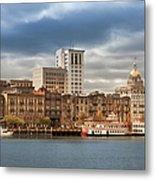 Waterfront Skyline Of Savannah Georgia Metal Print