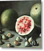 Watermelons And Figs On A Stone Ledge  Metal Print