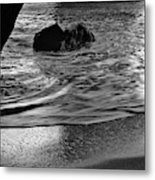 Waves From The Cave In Monochrome Metal Print