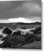 Waves Hitting The Rocks Metal Print