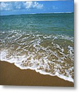 Waves Washing Onto White Sandy Beach Metal Print