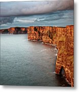 Waves Washing Up On Rocky Cliffs Metal Print