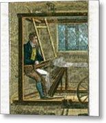 Weaver At His Loom, 1823 Metal Print