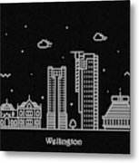 Wellington Skyline Travel Poster Metal Print