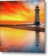 Welsh Lighthouse Sunset Metal Print