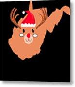 West Virginia Christmas Hat Antler Red Nose Reindeer Metal Print