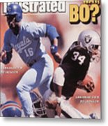 Which Way Bo? Bo Jackson Of Kansas City Royals And Los Angeles Raiders Sports Illustrated Cover Metal Print