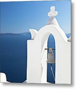 White Bell Tower And Blue Sea Metal Print
