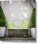 White Bench Made Of Iron With Two Green Bushes On The Side Metal Print