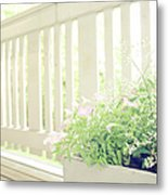 White Fence And Flowers Metal Print