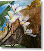 White Flower With Abstract Background Metal Print