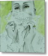 White Lace And Green Eyes Metal Print