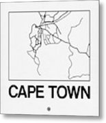 White Map Of Cape Town Metal Print