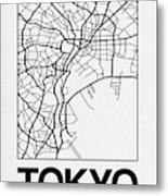 White Map Of Tokyo Metal Print