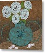 White Roses In Teal Vase Metal Print