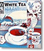 White Tea In Blue And White Metal Print