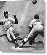 Willie Mays Sliding Into Home Plate Metal Print
