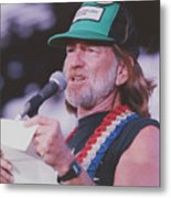 Willie Nelson Reading Letter Metal Print