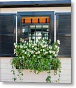 Window Full Of Flowers Metal Print