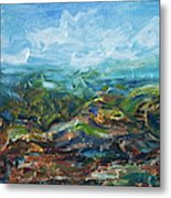 Windy Day In The Grassland. Original Oil Painting Impressionist Landscape. Metal Print