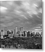 Windy Evening Calgary Downtown Bw Metal Print
